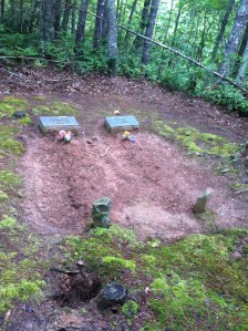 Grave site in the middle of the woods